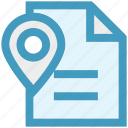 document, file, location, map pin, navigation, paper map, plan icon