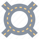 fourway, highway, intersection, location, path, road, transport icon