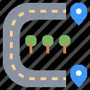 highway, location, maps, path, road, transport, urban icon