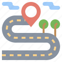 highway, maps, path, road, tranport, urban, windy icon