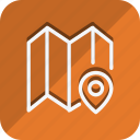 fold map, location, map, marker, navigation, pin, position icon