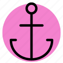 anchor, gps, location, map, navigation, pin, postioning icon