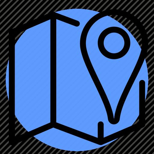 fold map, gps, location, map, navigation, pin, postioning icon