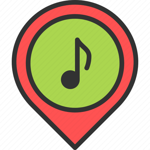 instrument, location, map, music, pin, shop, store icon
