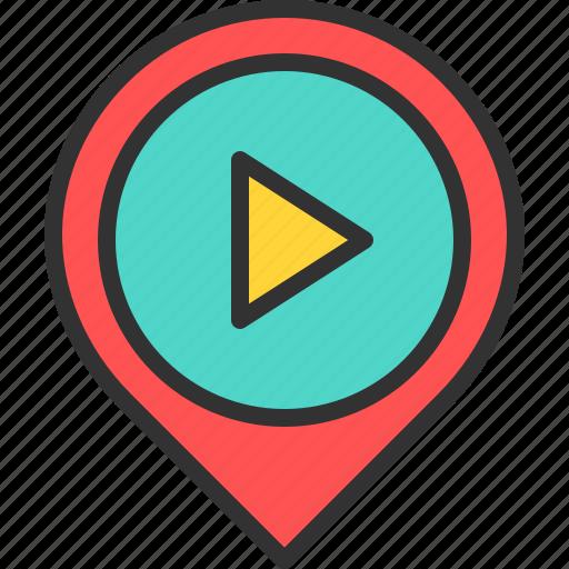 cine, cinema, location, map, movie, pin, play icon
