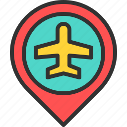 airplane, airport, fly, location, map, pin, travel icon