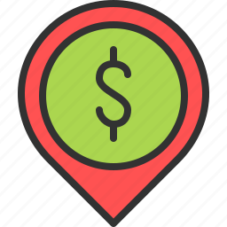 location, map, money, pin, shop, store icon