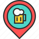 bar, beer, drink, location, map, pin