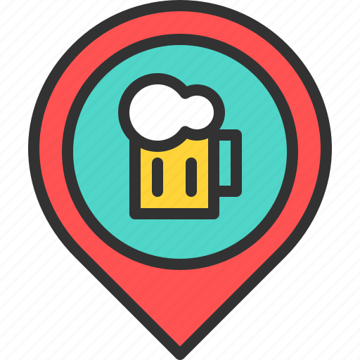bar, beer, drink, location, map, pin icon