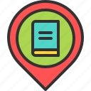 book, library, location, map, pin, read, store icon