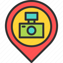 camera, location, map, photo, photographer, photography, pin icon