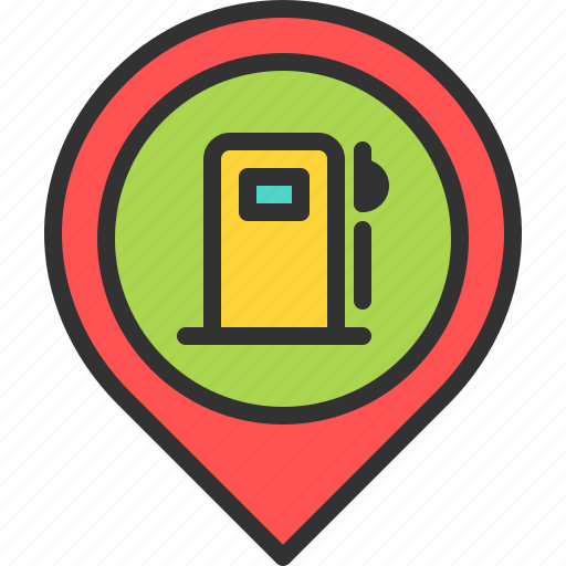 fuel, gas, gasoline, location, map, pin, station icon