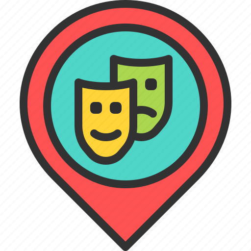 culture, location, map, mask, pin, theater icon