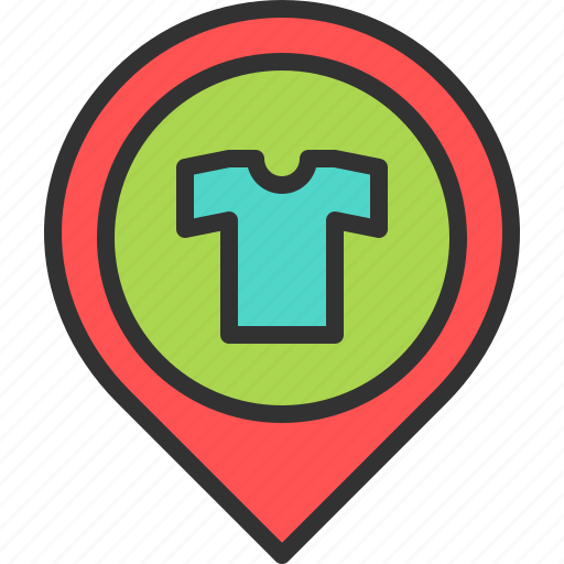 cloth, clothing, location, map, pin, shirt, store icon