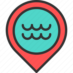 beach, location, map, ocean, pin, sea, water icon