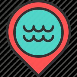 beach, location, map, ocean, pin, sea, water icon