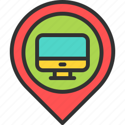 computer, computing, it, location, map, pin, technology icon