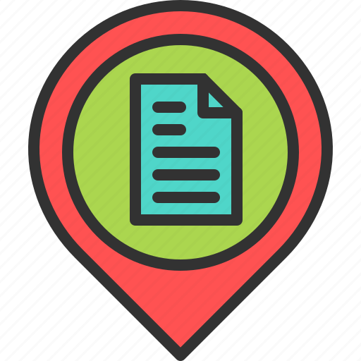 business, document, location, map, paper, pin, place icon