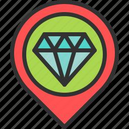 diamond, jewel, jewelry, location, map, pin, store icon