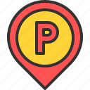 car, location, map, park, parking, pin icon
