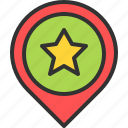 favorite, like, location, map, pin, star icon