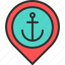 anchor, harbor, location, map, pin, port, sea icon
