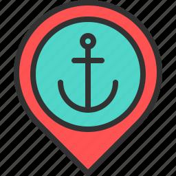 anchor, harbor, location, map, pin, port, sea icon