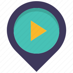cine, cinema, location, map, movie, pin, play icon