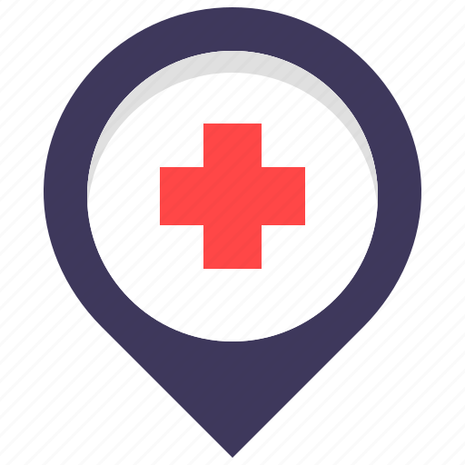cross, doctor, health, hospital, location, map, pin icon