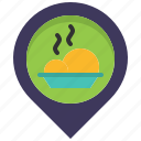 eat, food, location, map, meal, pin, restaurant