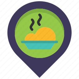 eat, food, location, map, meal, pin, restaurant icon