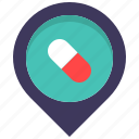 health, location, map, medicine, pharmacy, pill, pin icon