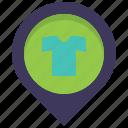 cloth, clothing, location, map, pin, shirt, store
