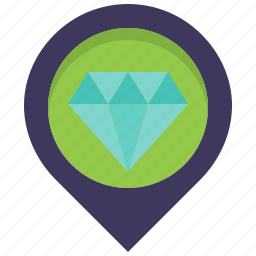 diamond, jewel, jewelry, location, map, pin, store icon