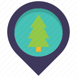forest, jungle, location, map, pin, tree, wild icon