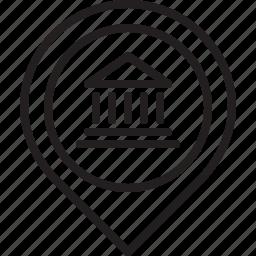 bank, location, map, money, pin icon
