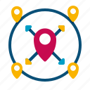 nearby, destinations, location icon