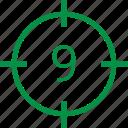 nine, number icon