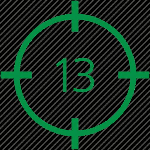 number, thirteen icon