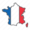 map, france, country, geograpgy, travel, contour, flag