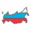 map, russia, country, geograpgy, travel, contour, flag