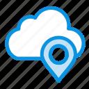 cloud, map, marker, pin