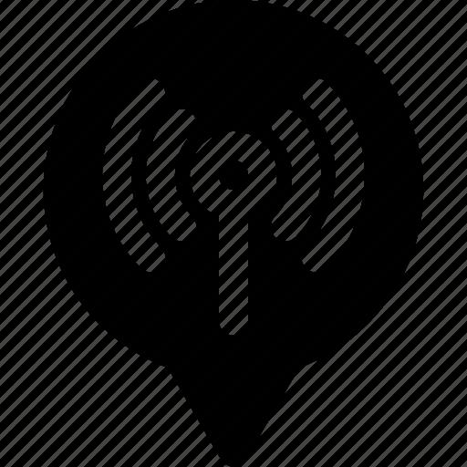 antenna, marker, pin, radio, signal, wifi, yumminky icon