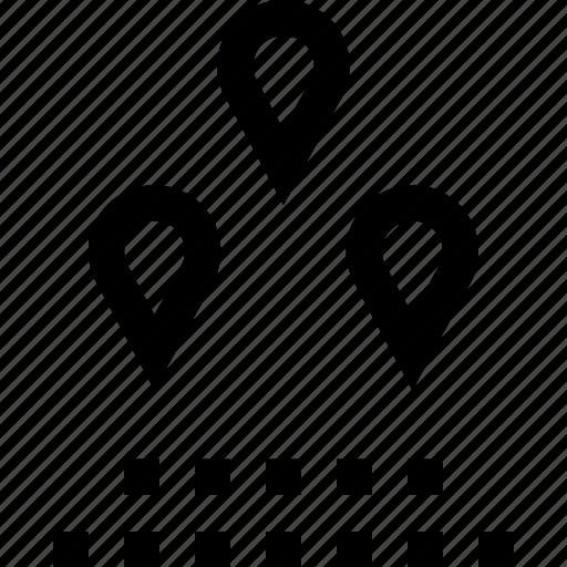 distance, pins, three icon