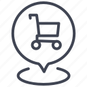 cart, gps, location, map, navigation, pointer, shopping icon