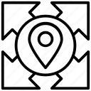 arrow, directions, gps, location, multi, pin