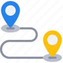 large, pins, between, journey, travel, travelling, locations icon