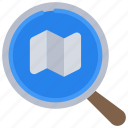 search, map, travel, research, loupe, magnifying, glass icon