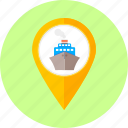 boat, location, map point, marine, navigation, ship, shipment icon