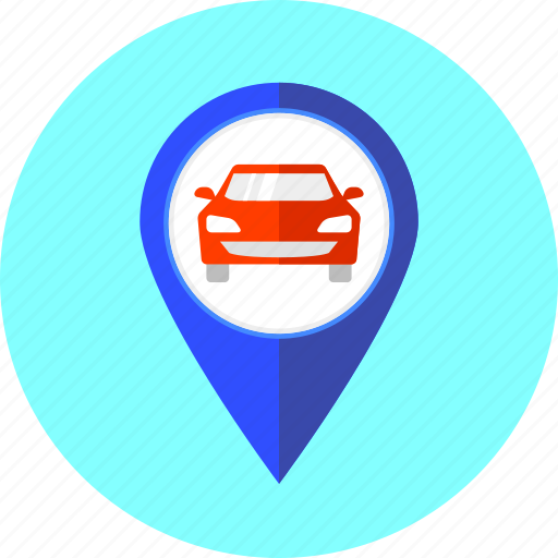 auto, automobile, car, map point, route, travel, vehicle icon